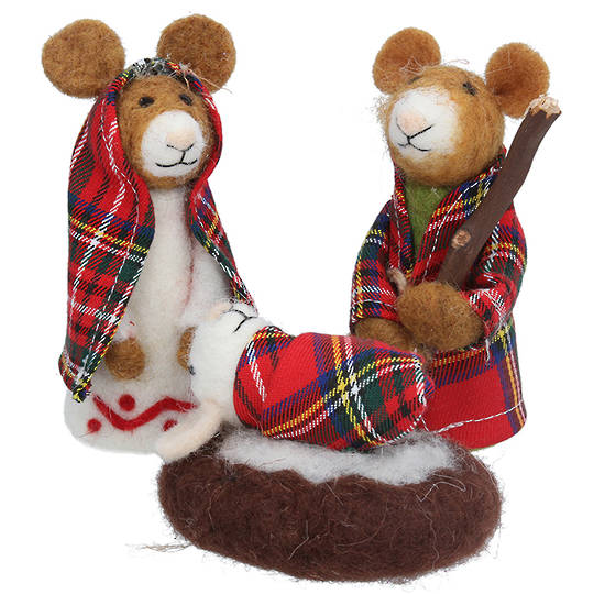 Wool Nativity Mice Set 14cm