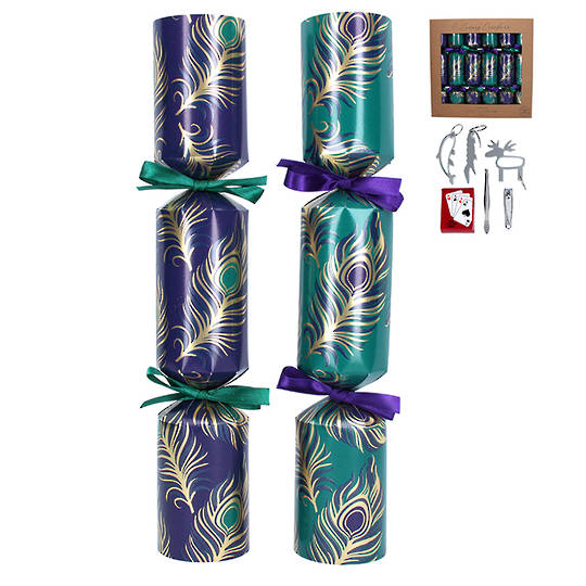 Christmas Crackers Set 6, Peacock SOLD OUT