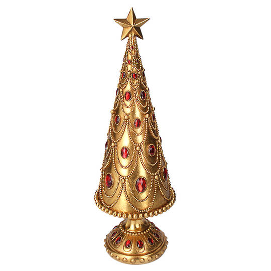 Gold Cone Tree, with Red Gems 48cm