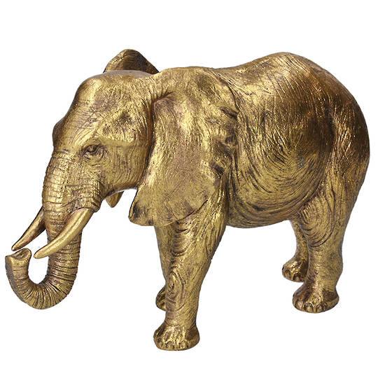 Resin Gold Elephant 34cm