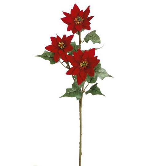 Velvet Poinsettia Spray 56cm