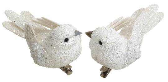 BirdClip White Glitter 10cm