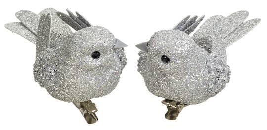 BirdClip Silver Glitter 10cm