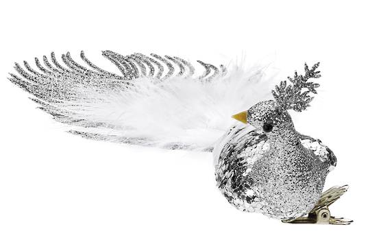 BirdClip Silver Glitter with White Feather Tail 21cm
