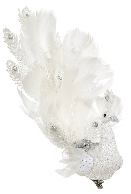 BirdClip White Glitter and White Feather Fantailed 19cm