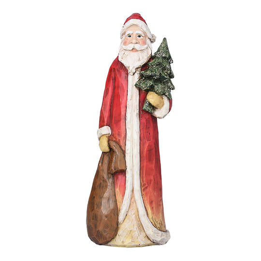 Resin Tall Santa with Sack and Tree 30cm