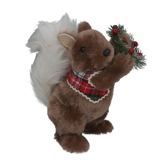 Faux Fur Squirrel Holding Wreath 22cm