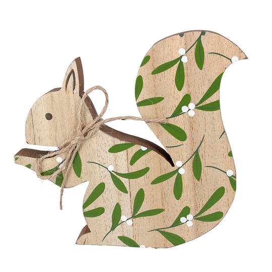 Wood Squirrel with Mistletoe 13cm