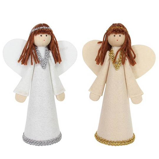 Felt Brunette Angel Topper 22cm