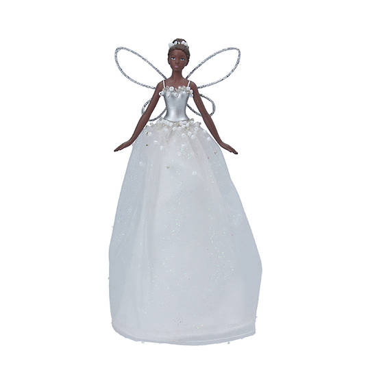 Resin Fabric White Fairy Topper 18cm