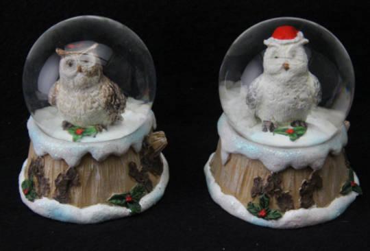 Mini SnowGlobe Snowy Owl 5cm