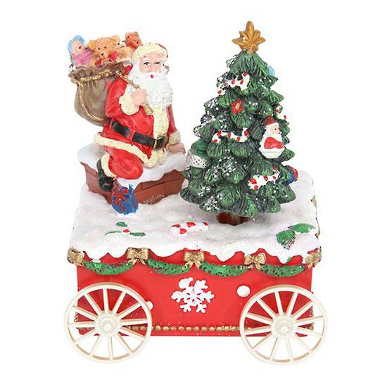 Santa & Tree on Cart, Music Box 18cm