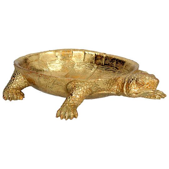 Resin Gold Turtle Dish 23cm
