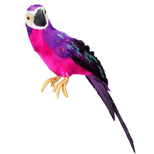Feather Fuschia Purple Parrot 30cm