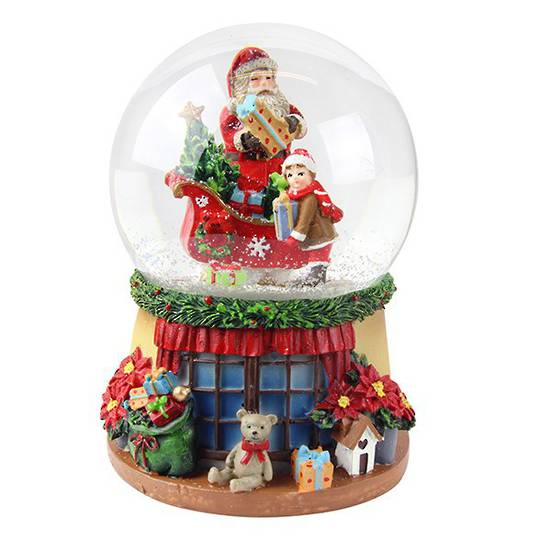 Musical SnowGlobe. Santa, Sleigh & Child, Window Sill Base 14cm