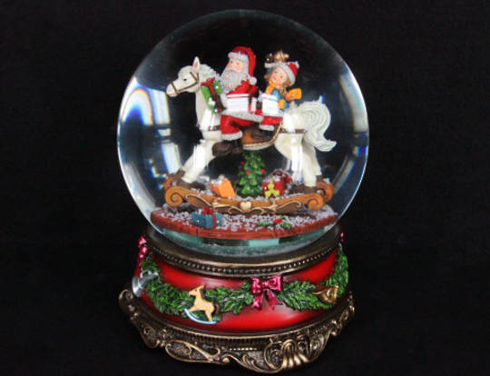 Musical Revolving SnowGlobe Santa and Rocking Horse