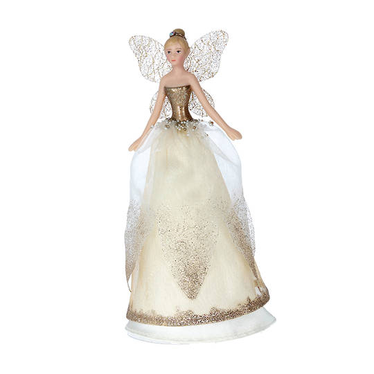 Resin Fabric Cream and Gold Fairy Topper 18cm