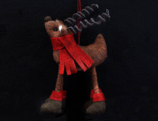 Brown Wool Reindeer with Red Scarf 14cm