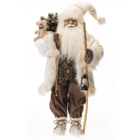 Santa White Coat LED, Brown Vest and Pants, 95cm