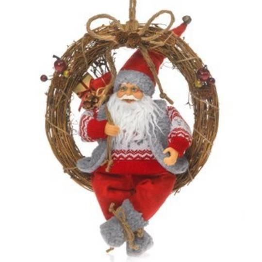 Twig Wreath with Santa 40cm