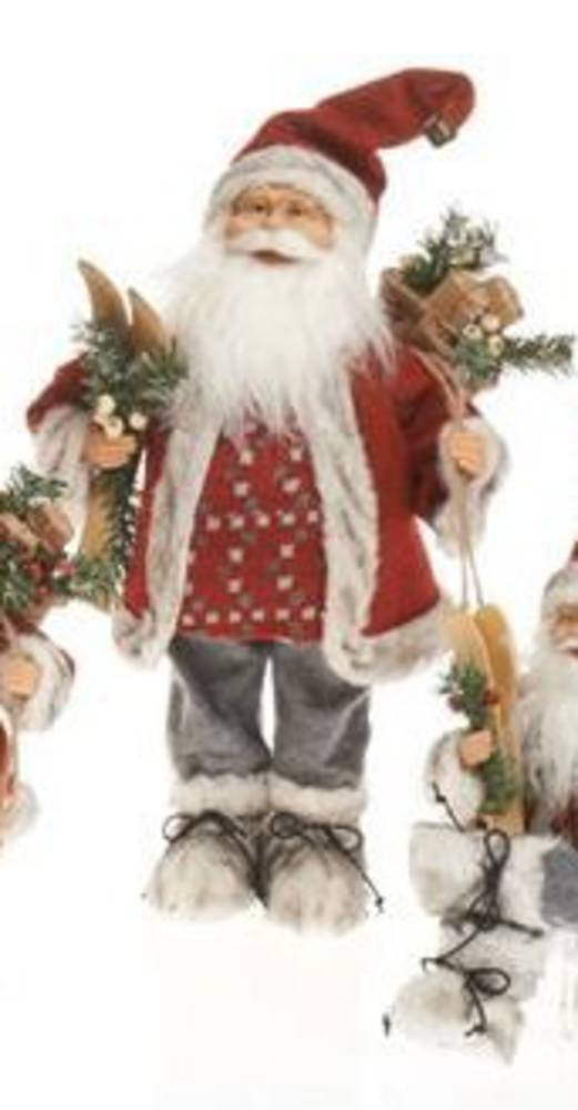 Santa Red Coat Grey Pants Check Jumper