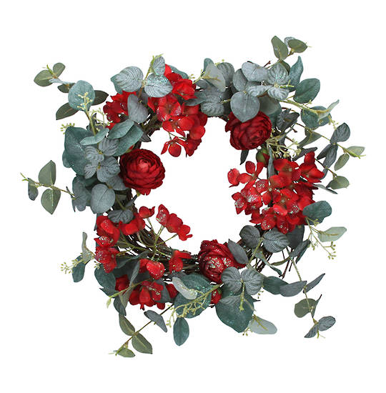 Eucalyptus and Red Flower Wreath 38cm