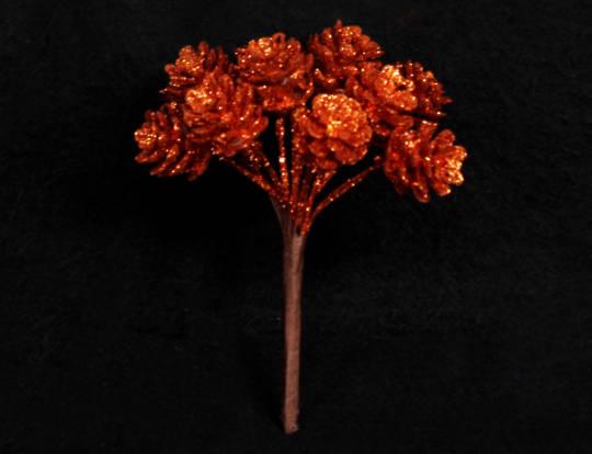 Copper Glitter Pine Cone Pick 8cm
