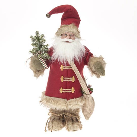Santa English Red Coat & Tan Fur Trim