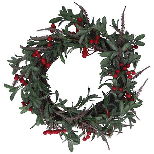 Mistletoe Leaves Red Berry Wreath 50cm