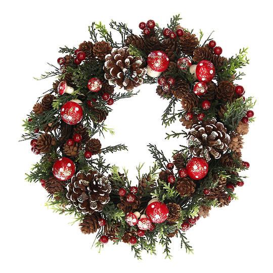 Wreath, Pincones & Toadstools 33cm
