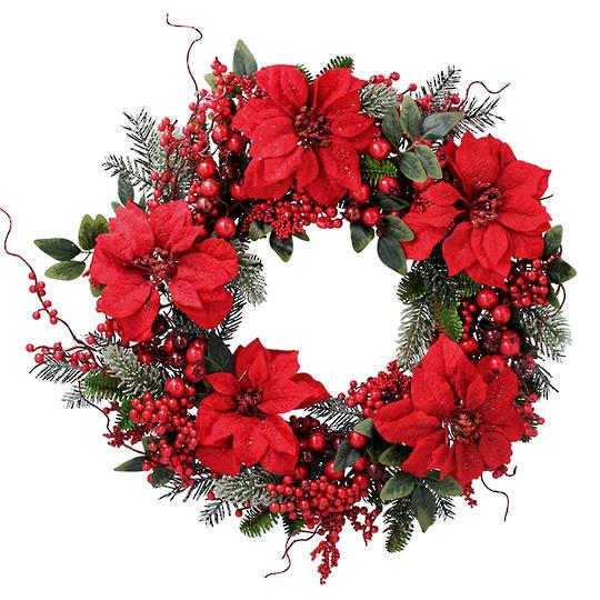 Poinsettia Wreath 60cm