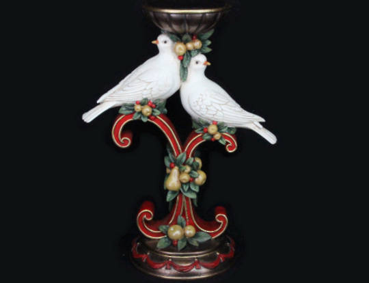 Pillar Candle Stand with Turtle Doves 30cm