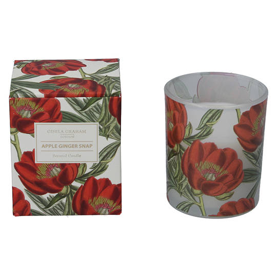 Red Xmas Rose, Candle Jar 8cm