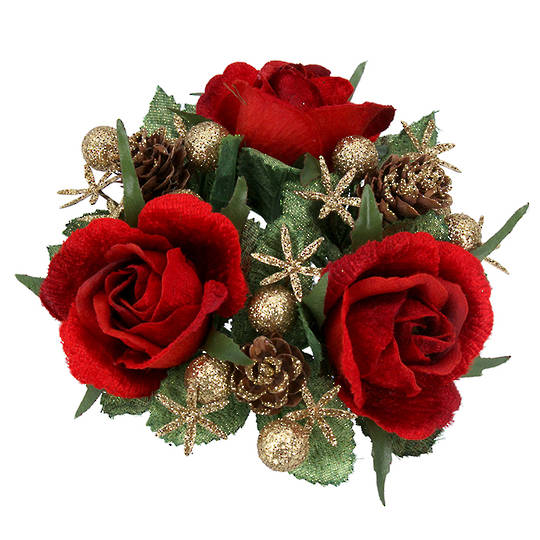 CandleRing, Red Rose 12cm