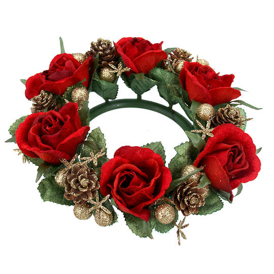 CandleRing, Red Rose 20cm