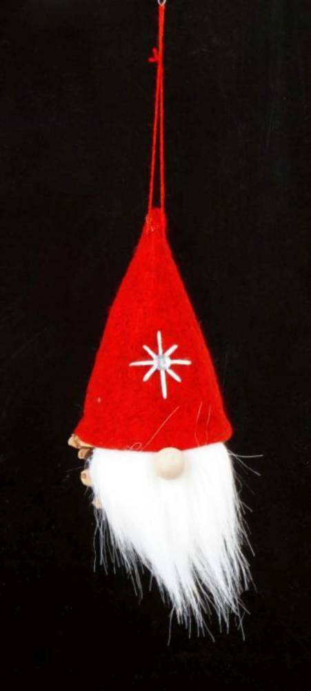 Hanging Scandi Red Santa, Pinecone