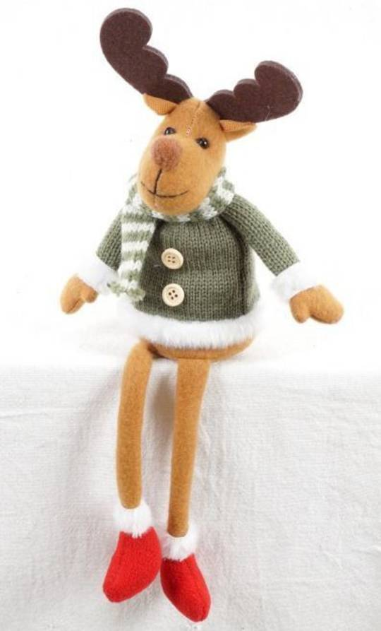Plush Sitting Jolly Reindeer, Green Jumper