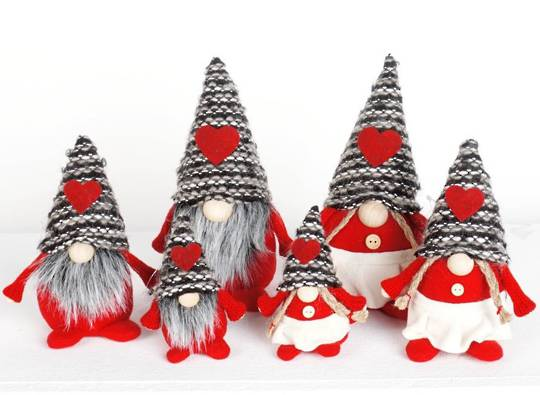 Mini Wooly Grey Stripe Hat Gnome