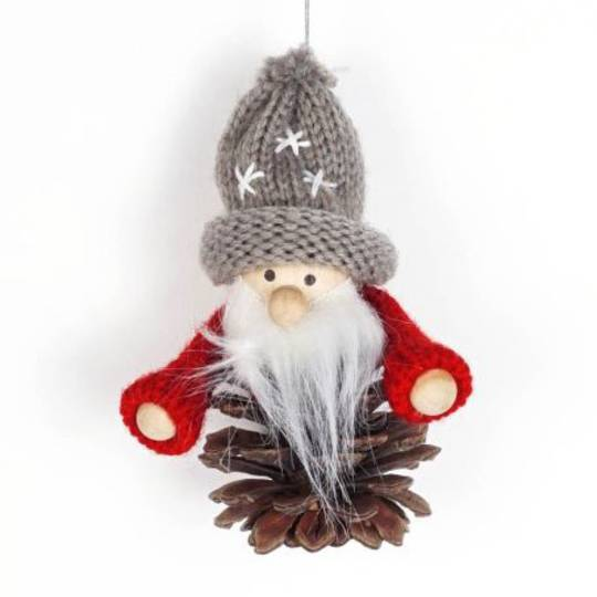 Pinecone Santa Knited Red Jumper, Grey Hat