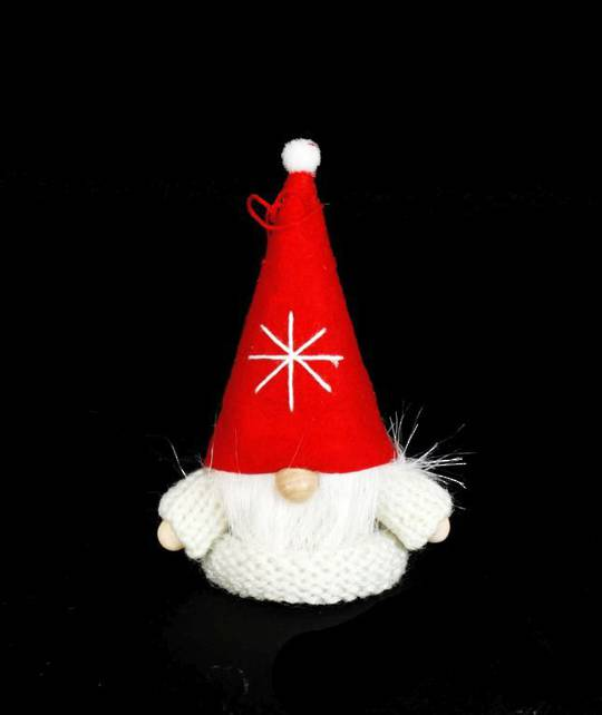 Santa White Knit Jumper, Red Hat