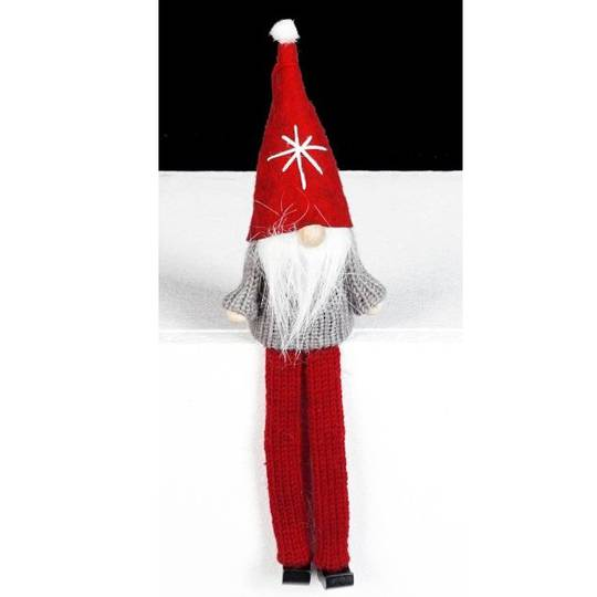 Santa Grey Knit Jumper, Red Hat
