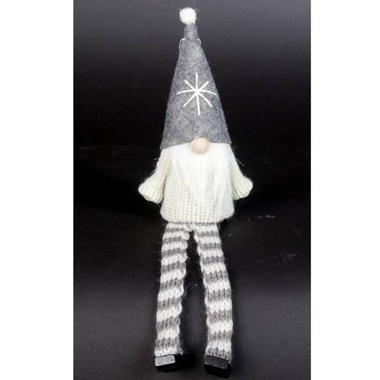 Sitting Santa White Knit Jumper, Grey Hat