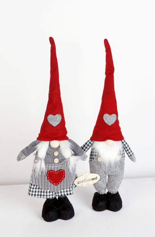 Plush Standing Gnome Black & White Check 30cm