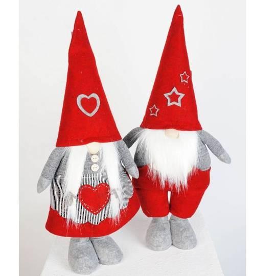 Plush Standing Nordic Mr or Mrs Santa Gnome 30cm