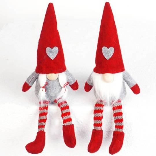 Sitting Mini Santa, Long Legs Red Hat