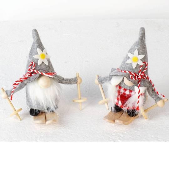 Plush Sking Alpine Santa, Grey Hat