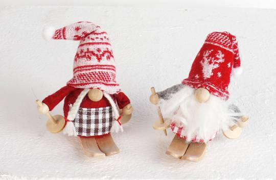 Plush Sking Mini Santa, Snowflake Hat