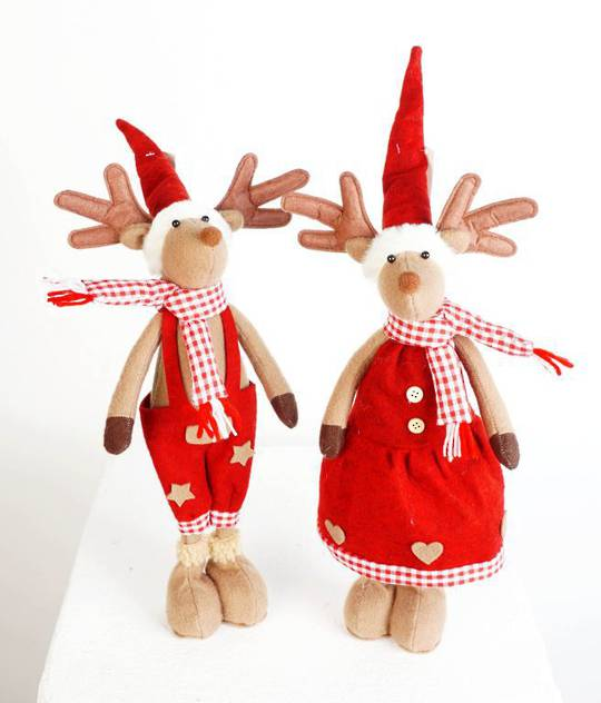 Plush Standing Reindeer, Red Check Scarf
