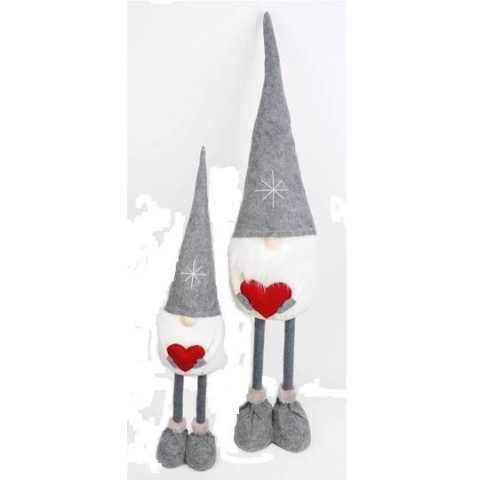 Tall Santa, Grey Hat, Red Heart