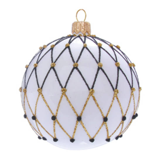 Glass Ball White, Black and Gold Lattice 6cm